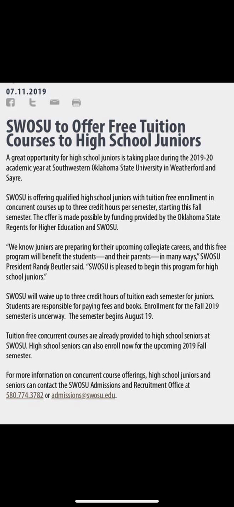 Junior Tuition Waiver to SWOSU